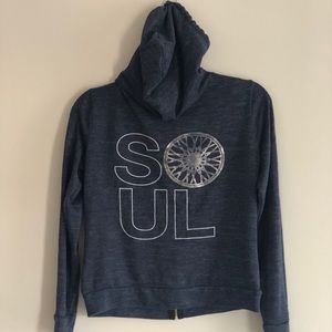 Lightweight Soulcycle zip hoodie blue & silver XS